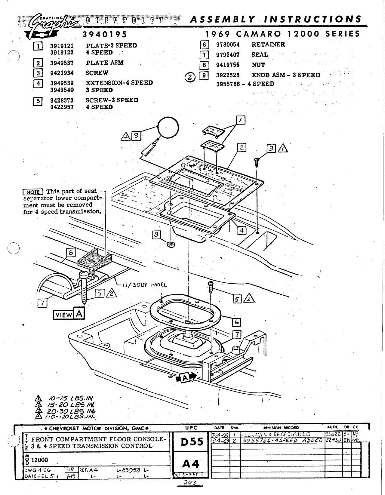 ... Camaro Assembly Manual April 1968 ...